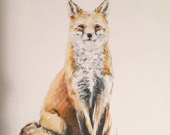 Watercolor Fox Print | Art Print | Water Color Print | Woodland Art