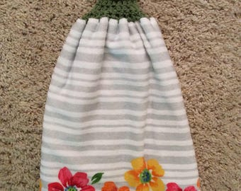 Crochet Top Towel - Flowers - Stripes - Hanging Kitchen Towel - Double and Reversible