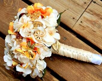 Orange Gold Ivory Brooch Bouquet, Deposit only