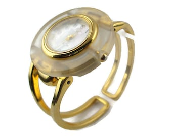 Persona Mother of Pearl Lucite Gold Tone Japan Movement  Quartz  Hinged Bangle Watch