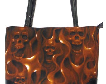 "USA Handmade Handbag With ""Skulls ON FIRE"" Pattern Bag Purse, Cotton, New"