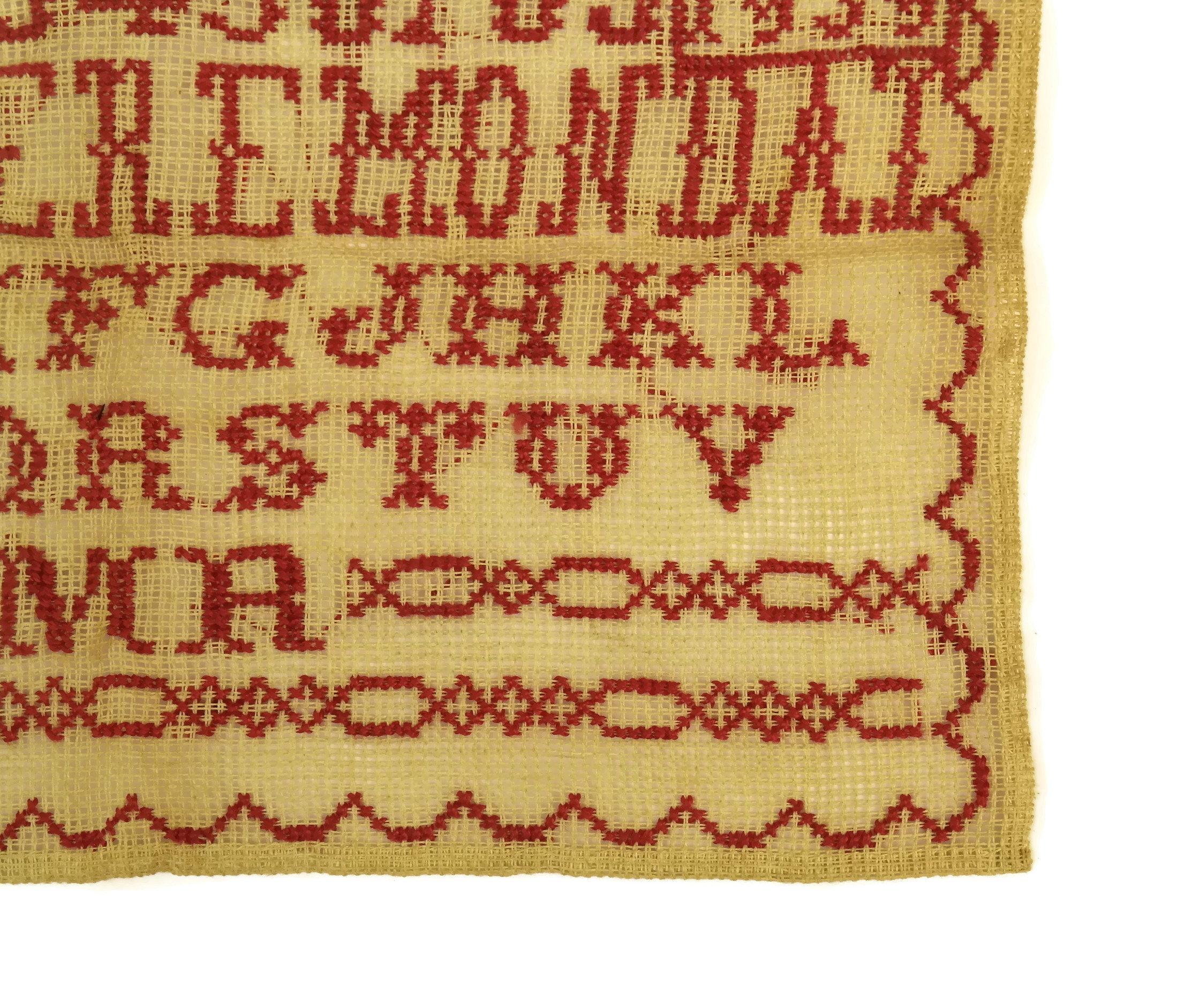 French Redwork Sampler. Antique Cross Stitch Alphabet and Number ...