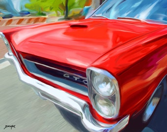 Pontiac GTO Red Hood - limited edition print by James Becker