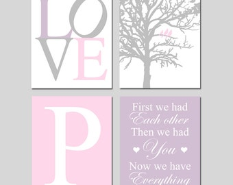 Pink and Purple Nursery Wall Art Baby GIRL Nursery Art - LOVE, Birds in a Tree, Initial, First We Had Each Other - Set of Four 8x10 Prints