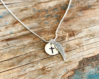 Angel Wing Necklace, Cross Necklace,Sterling Silver,Hand Stamped,Religious Jewelry Gifts,First Communion Gift,Confirmation Gift,Gift For Her