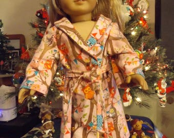"18"" Doll House Coat, 18"" Doll Robe, American Girl House Coat, American Girl, Robe, Owl Robe, Owl Housecoat, AG Robe, AG Housecoat"