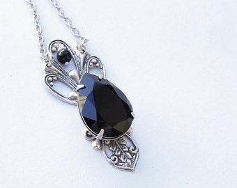 Black Gothic Necklace Victorian mourning Jewelry Black Swarovksi Pendant Gothic Jewelry Swarovski Crystal Necklace Silver