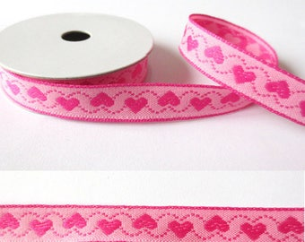 2 m x 10mm hearts fancy Ribbon pink