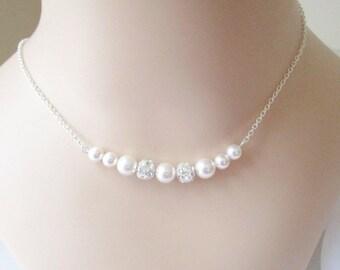 Floating Pearl Necklace, Bridal Necklace, Bridesmaid Necklace, Custom Necklace, Swarovski Pearl Necklace, Wedding Necklace, Rhinestones
