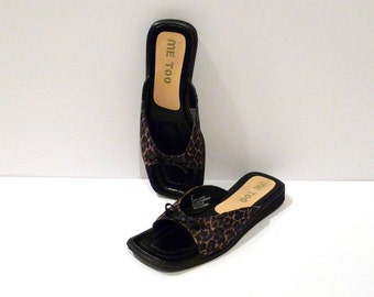 Leopard Sandals Vintage Lace Print Slide On Mules Shoes Size 9 Jungle Animal Print Flats Lace Texture Slippers Shimmery Peep Toe
