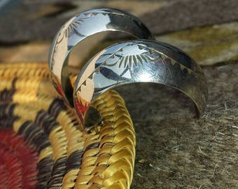 Half Hoop Hand Stamped Silver Earrings