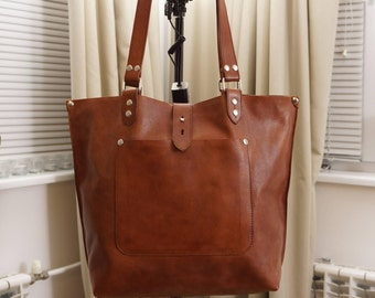 Leather tote, leather tote bag, big leather tote, leather tote woman, leather tote women, Large Leather Tote, Ria - tan