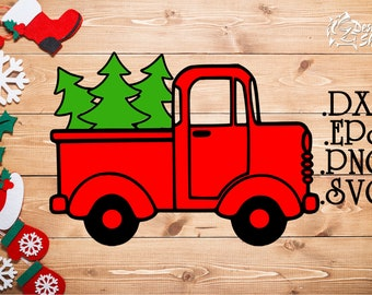 Christmas Tree Truck Side SVG/DXF/PNG
