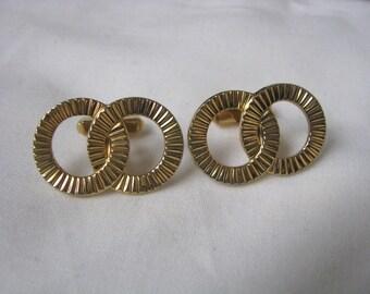 Elegant gold tone textured double ring cuff links cufflinks
