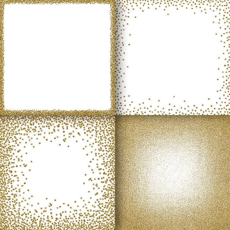 Gold glitter frames digital paper clipart golden overlays png ...