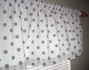 Polka Dots Valance, Gray /White Polka Dots Valance, Nursery Valance, Window Valance
