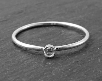 Sterling Silver Bezel Ring 2mm ~ Size P