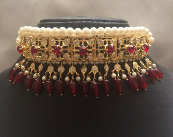 Maroon Galabandh with matching earrings, hyderabadi gulubandh, hyderabadi bridal jewelry, indian wedding