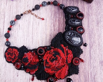 Beaded Necklace, Silk Shibori Jewelry, Beadwork Necklace, Shibori Necklace, Black Shibori silk Necklace with Rose
