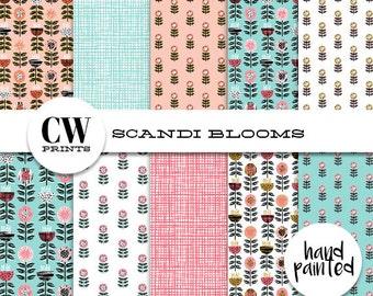 Scandi Blooms Digital Paper Pack: 12x12 inch paper, 10 painted flowers, scandi stems, Digital Background Paper, Digital Printables,