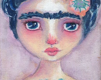 Frida In Lavender- Mixed Media Giclee Art Print by Amber Button