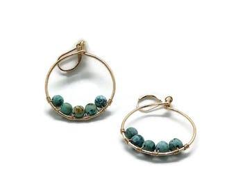 AfricanTurquoise Hoop Earrings in Gold or Silver