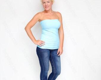 Bandeau Top, Baby Blue Crop Top, Summer Crop Top, Blue Top, Women Strapless Top, Tube Top, Summer Strapless Top, Yoga Top