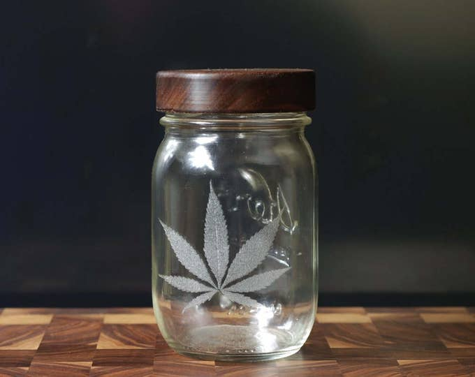 Stash Jar - One Pint - Beautifully Engraved - Custom Wooden Screw Top.