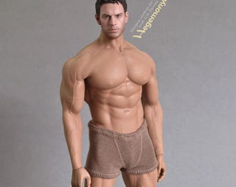 1/6th scale XXL brown boxer briefs trunks men's underwear for: Phicen M34 and Hot Toys TTM 20 size bigger action figures, male dolls