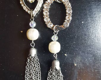 vintage assemblage- mis-matched earrings- shoulder dusters- recycled earrings-gift for her- fancy jewelry-  FashionRedoux