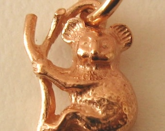 Genuine SOLID 9K 9ct ROSE GOLD 3D Koala on a Branch Australian Animal charm/pendant