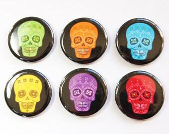 Dia de los Muertos, Day of the dead, sugar skulls, Button magnets, Kitchen Magnets, Sugar Skull magnets, skull, stocking stuffer (3257)