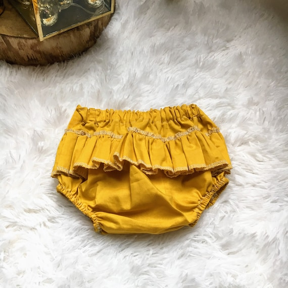 Gold Baby Girl Organic Cotton Ruffle Bloomers