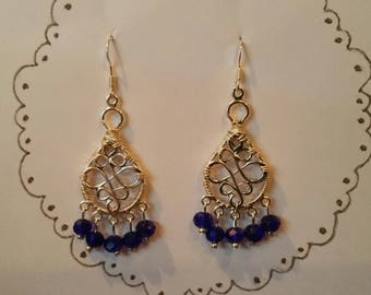 "Silver Celtic Chandelier Earrings--""Dancing in the Rain"""