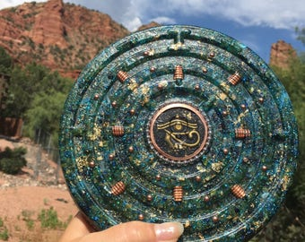 XL Powerful,Holographic Orgone charging disc with an Orgone copper cylinder, Green Calcite, Rhodizite, Shungiite, Peridot 8 in. 1/2 in
