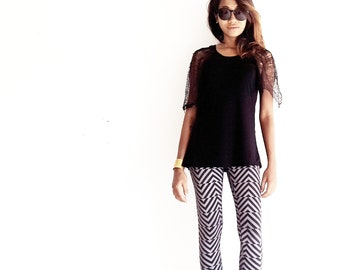 Black Top - Shredded Black T-shirt - Deconstructed Top - Black Oversized Top - Shredded Black Top
