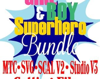 Super héros fille et garçon lot disant citation coupe fichiers MTC SvG ScAL v2 Silhouette Cricut