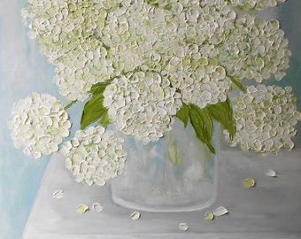 Custom Oil Painting, Hydrangea Impasto Oil Painting, Choose Your Color, Wedding, Home Decor, Fine Art