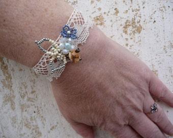 Dentelle ivory and soft blue bracelet French Handmade