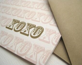 XOXO- Love greeting card, hearts, love, galentines, friendship, boyfriend, spouse