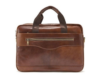 Mens Genuine Leather Briefcase Laptop Business Shoulder Bag Attache 9029