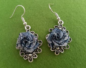 Blue rose earrings, Blue rose jewelry, rose drop earrings, blue flower earrings, paper earrings, paper flower earrings, paper flower jewelry