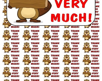 """50 Beaver Thank You Envelope Seals / Labels / Stickers, 1"""" by 1.5"""""""