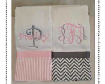 Monogrammed Burp Cloth Set