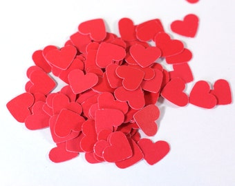 Red Heart Cut Outs: Little Red Cardstock Hearts 25, 100, 250, 500 - paper Wedding Embellishment Punchies supplies 1/2 inch table scatter