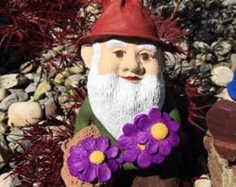 Garden Gnome Vintage hand painted Stoneware Universal Statuary Statue Flower