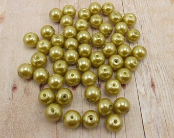 6mm Glass Pearls - Olive Green - 60 pieces - Army Green - Khaki - Meadow - Last Ones