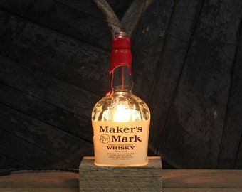 Maker's Mark Bourbon Bottle Lamp - Whiskey Bottle Light, Desk Lamp, Bourbon Gifts, Upcycled Lighting, Man Cave Lighting, Father's Day Gift