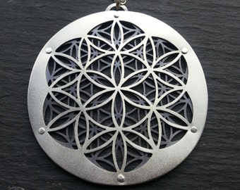 Flower of Life Pendant - sterling silver and oxidised sterling silver - Handcrafted Sacred Geometry Jewellery