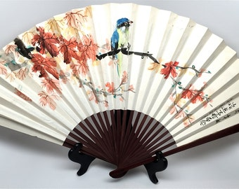 Antique Fan, Hand Painted, One of a Kind, Japanese Writing, Signed, Blue Bird, Japanese Maple, Bamboo, Paper